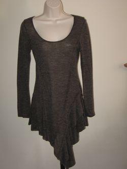 POINT Womens' Brown Knit Summer Long Sleeve Assymetic Hem Dress Tunic Sz S/M (L), NEW Thumbnail