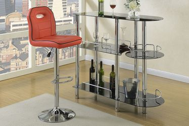 """Bar Stool Red Faux Leather . 17"""" X 21"""" X 38""""h -46""""h . New. Especial Price Thumbnail"""