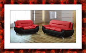 Red/black 2pc sofa and love seat set free delivery for Sale in Alexandria, VA