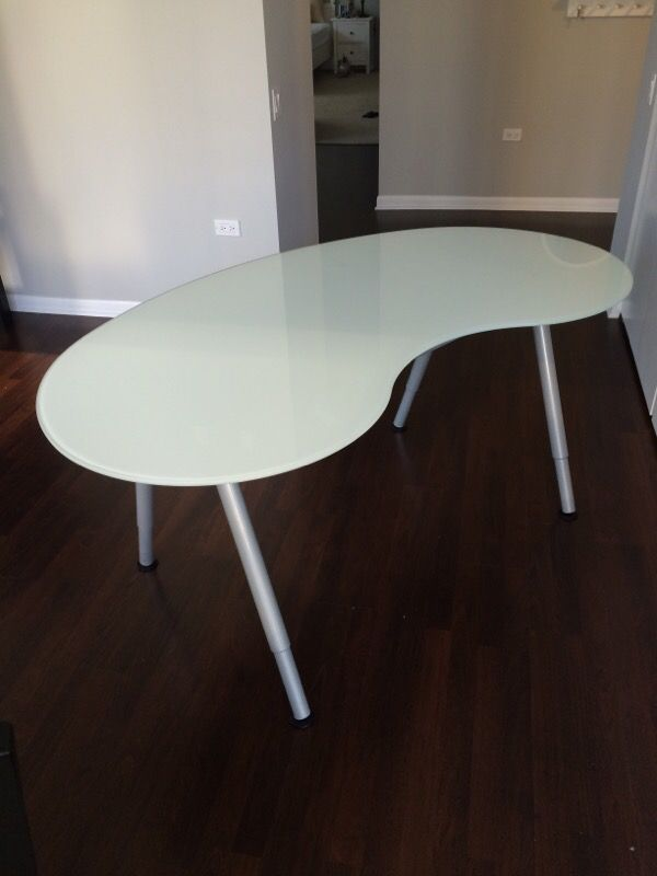 Ikea galant white glass desk (rounded) for Sale in Chicago ...