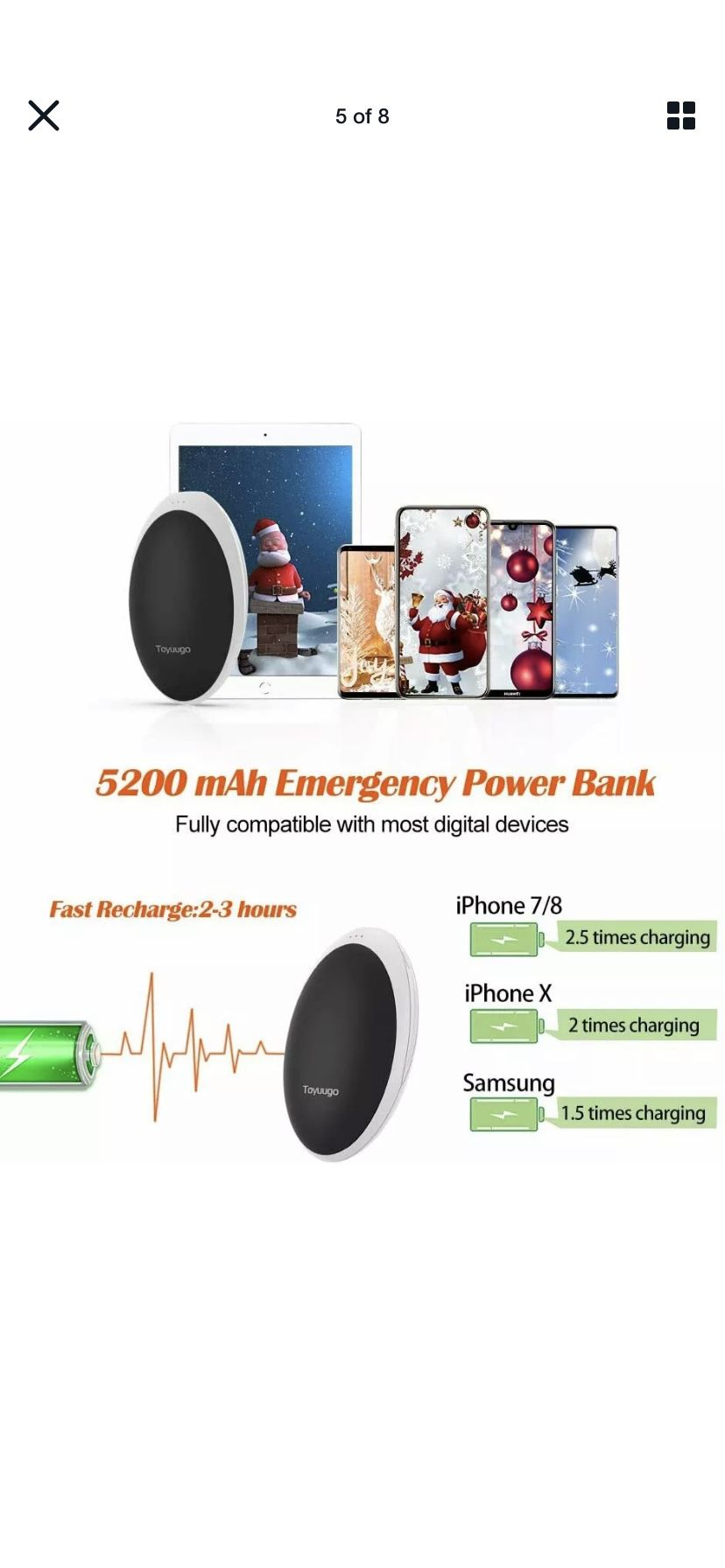 Rechargeable Hand Warmers Power Bank 5200mAh Electric Portable Pocket Hothands