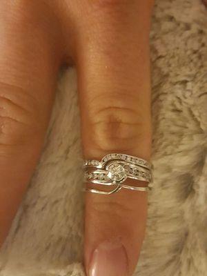 SET OF 3 DIAMOND WHITE GOLD WEDDING ENGAGEMENT RINGS 26 DIAMONDS for Sale in Boston, MA