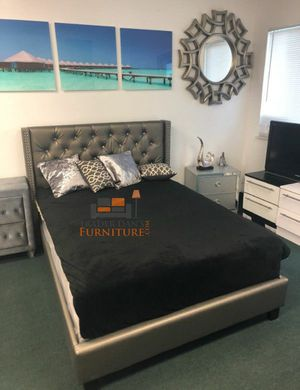Brand New Full Size Silver Leather Platform Bed Frame ONLY for Sale in Silver Spring, MD