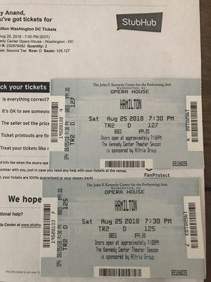 Hamilton tickets (2) Saturday August 25th for Sale in Arlington, VA