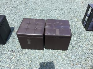 Brown Faux Leather Storage Ottomans for Sale in Troy, VA