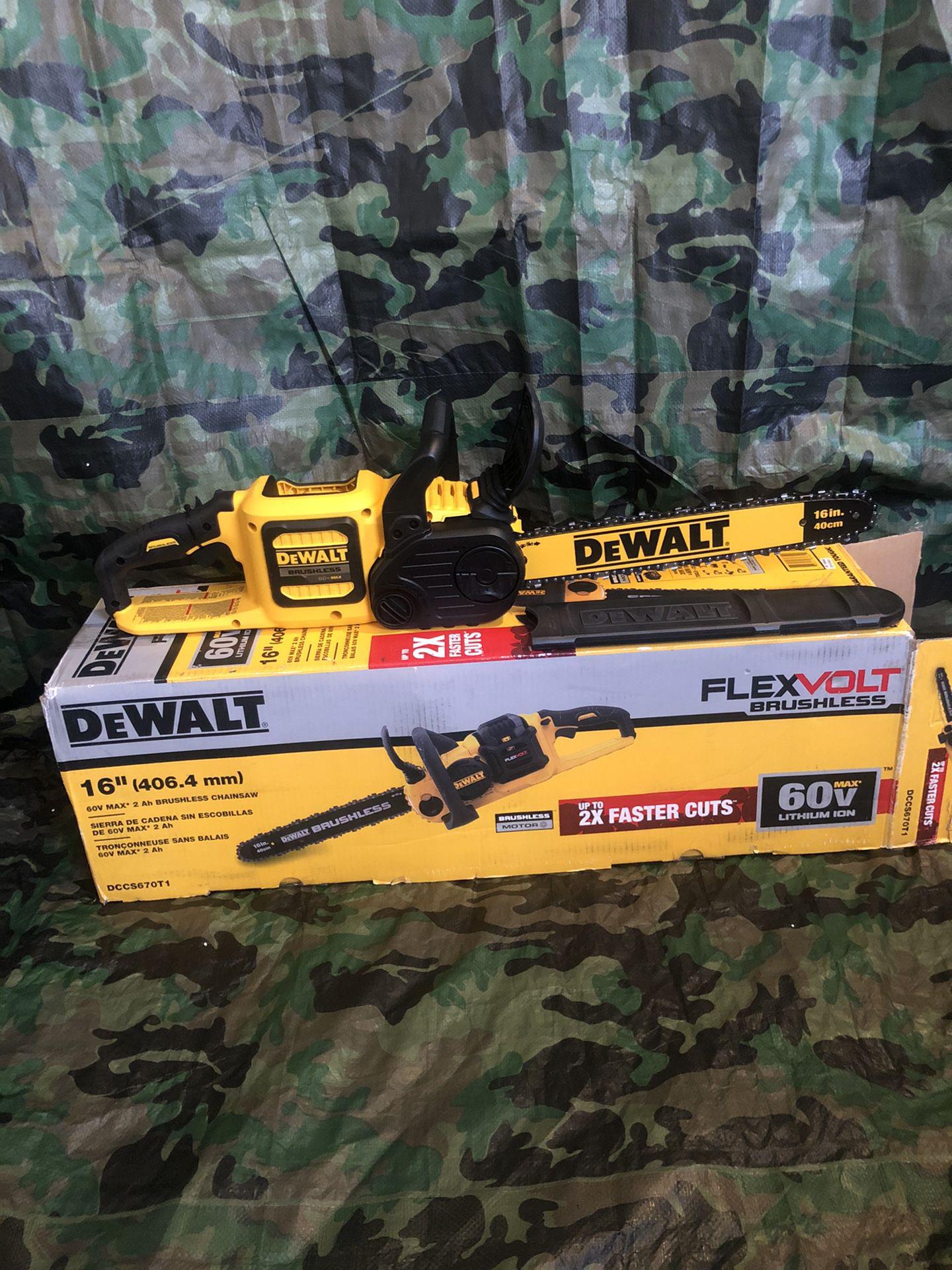 "Dewalt Chainsaw 16"" Flex Volt Brushless ""tool Only"""