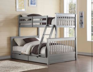 FULL /TWIN BUNK W STORAGE BED FRENCH GRAY FINISH for Sale in Hialeah, FL