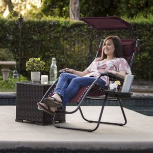 Folding Zero Gravity Recliner Lounge Chair w/ Canopy Shade & Magazine Cup Holder j9- 1082 for Sale in St. Louis, MO