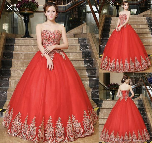 Elegant Red Quinceanera Dress Gold Lace Applique Sweet Size 16 Girl Pageant Dresses For Sale In Fort Lauderdale Fl Offerup