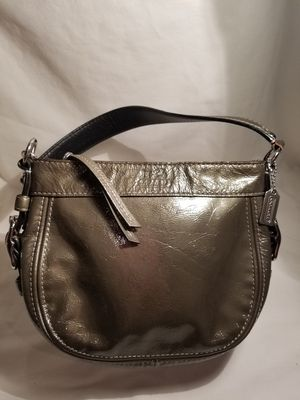 Coach authentic small gray patent leather bag for Sale in Martinsburg, WV