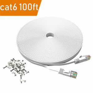 100 ft Cat 6 Ethernet Cable White – DaBee Flat Wire LAN Rj45 High Speed Internet Network Cable Slim with Clips – Faster Than Cat5e Cat5 with Snagless for Sale in Bassett, CA