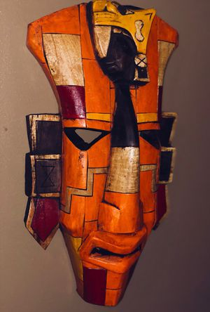 Mayan Mask - Orange - Authentic - Made In Yucatán Mexico for Sale in Alexandria, VA