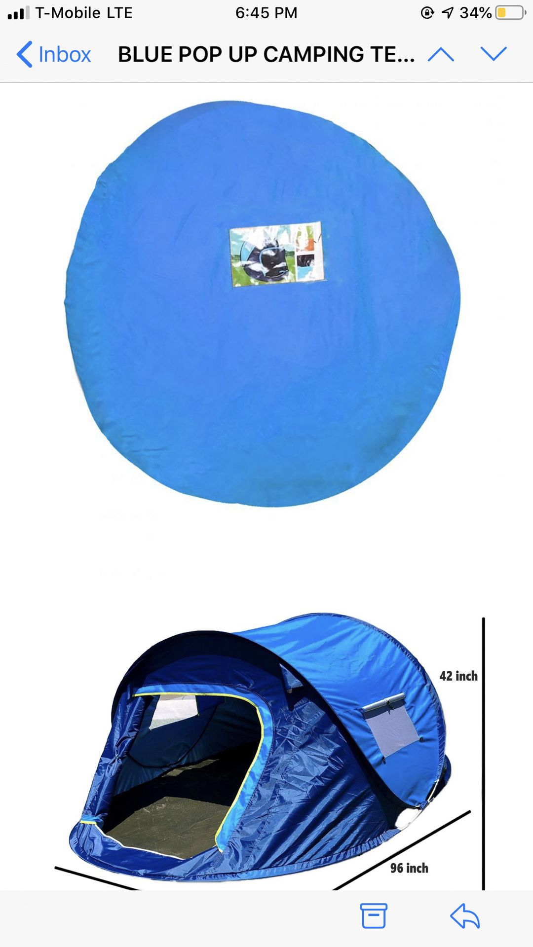 Pop up Camping or Beach Tents ready to use