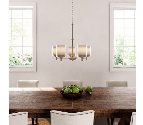 Hampton Bay Burbank 5 Light Brushed Nickel Chandelier With Dual Glass Shades For In Arlington Heights Il Offerup