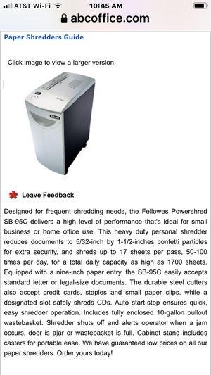 Fellowes Powershred for Sale in Salt Lake City, UT