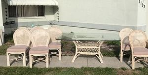 Photo Kitchen Dining Patio Glass Top Table 6 Chairs Set MUST GO NOW!