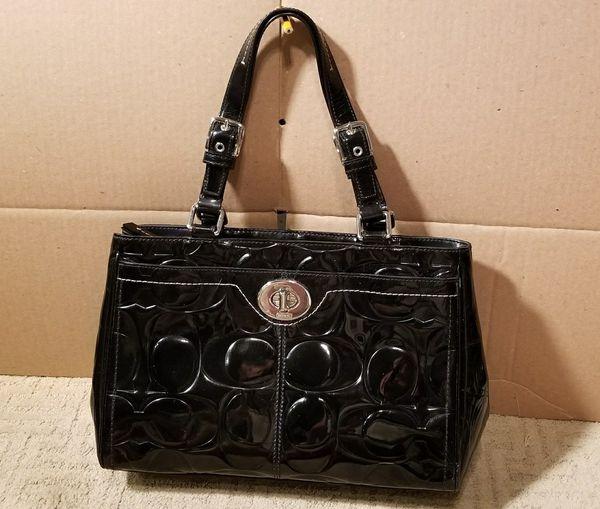 beb75180b4 Coach F14413 Hampton Signature C Embossed Patent Leather Bag SUPERB+ ...