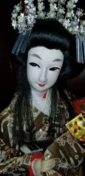 Antique Japanese Geisha doll holding warrior helmet for Sale in Fairfax, VA
