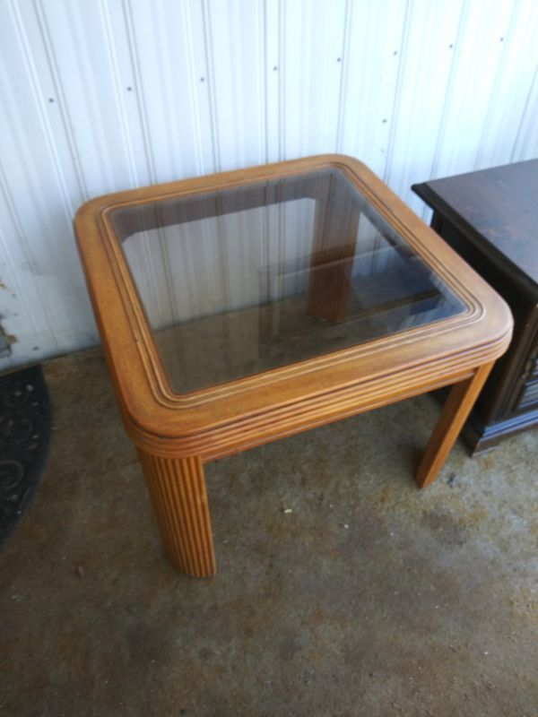 Vintage End Table Side Table Wood Glass Insert For Sale In