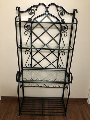"""Photo Metal and Glass Bakers Rack with Wine Holder Tall 68 1/4"""" Wide 32 1/2"""" Deep 17"""""""