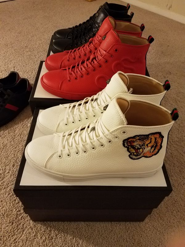 Mena Gucci Leather High Top Dragon Tiger Snake Sneakers For Sale In Alexandria VA