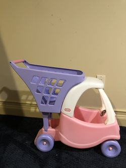Little Tikes Princess Cozy Coupe Kids Pretend Play Grocery Shopping Cart, Pink Thumbnail