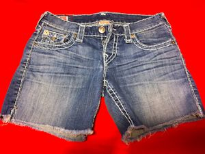 TRUE RELIGION Button-Fly Denim Shorts, Size 25 for Sale in Las Vegas, NV