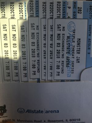 Monster jam tickets for Saturday 11/03 7pm. for Sale in Bedford Park, IL