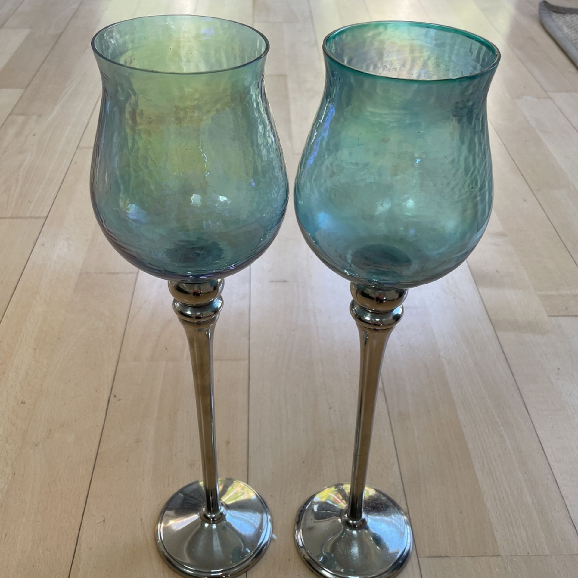 Blue Glass Tall Candle Holders