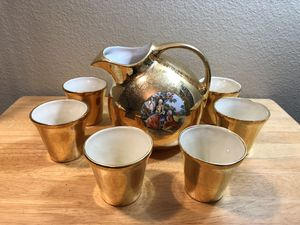 Vintage Drink Pitcher with matching cups for Sale in San Diego, CA