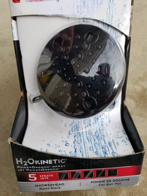 Photo Delta 5-Spray 4.19 in. Fixed Showerhead with H2Okinetic in Matte Black