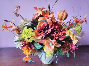 Fall artificial flowers bouquet in vase for Sale in Washington, DC