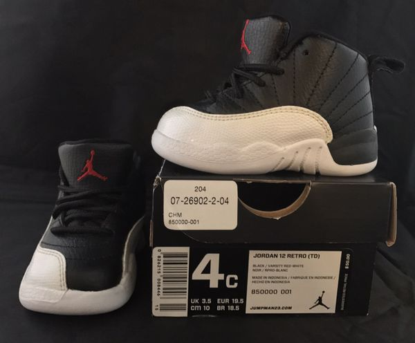 fac0d91eef72a5 Jordan Retro 12 Toddler size 4C Shoes Black and White for Sale in  Tobyhanna
