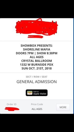Shoreline mafia ticket for Sale in Washougal, WA