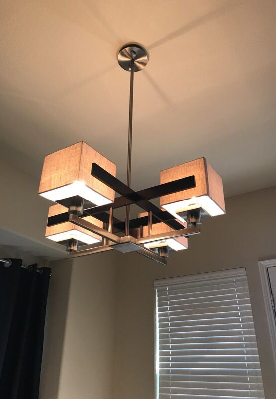 Possini euro design mirrored grids metal and wood chandelier for sale in frisco tx offerup