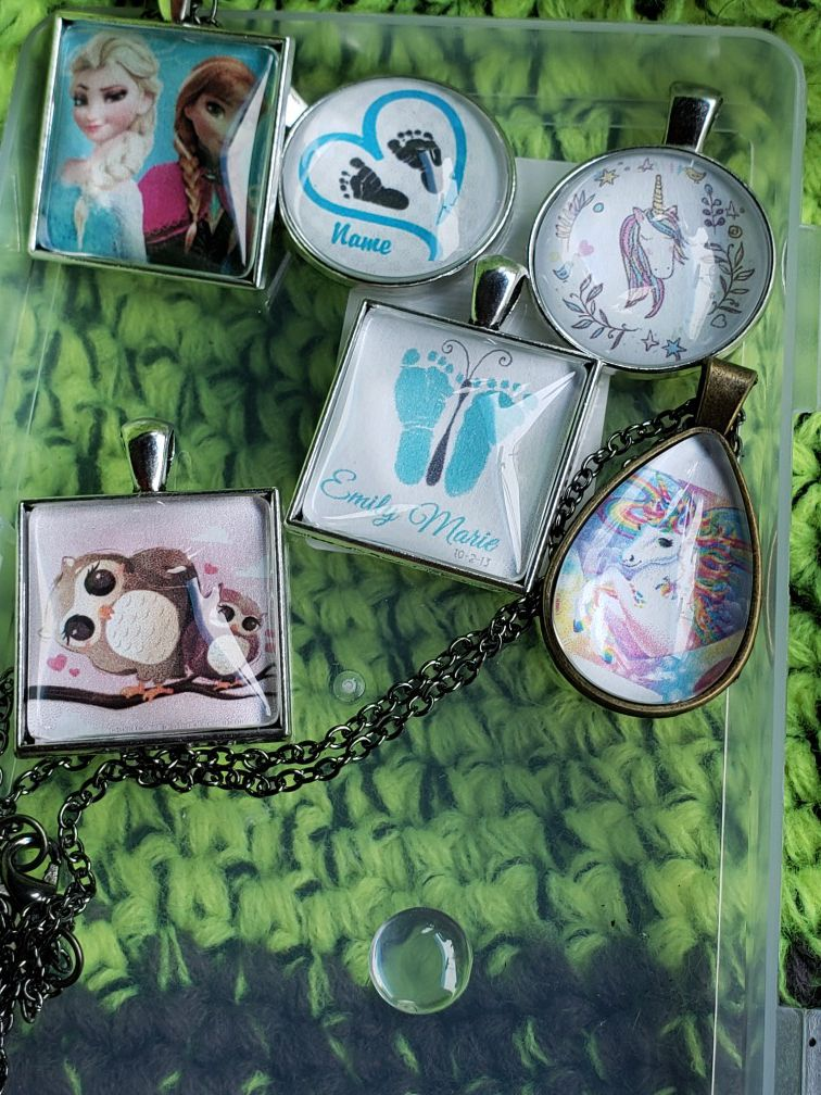 Custom Cabochon necklaces/earrings set