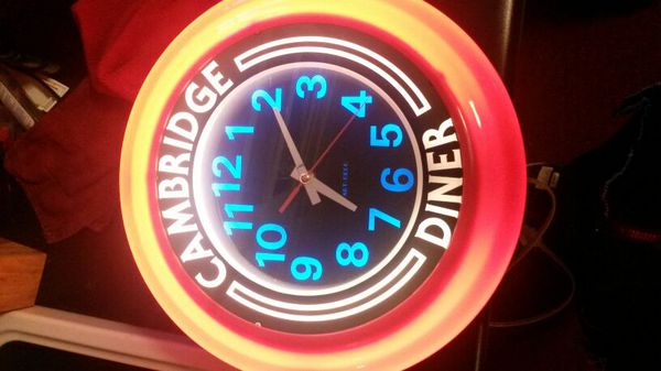 Cambridge diner neon retro clock for Sale in Fayetteville, NC - OfferUp