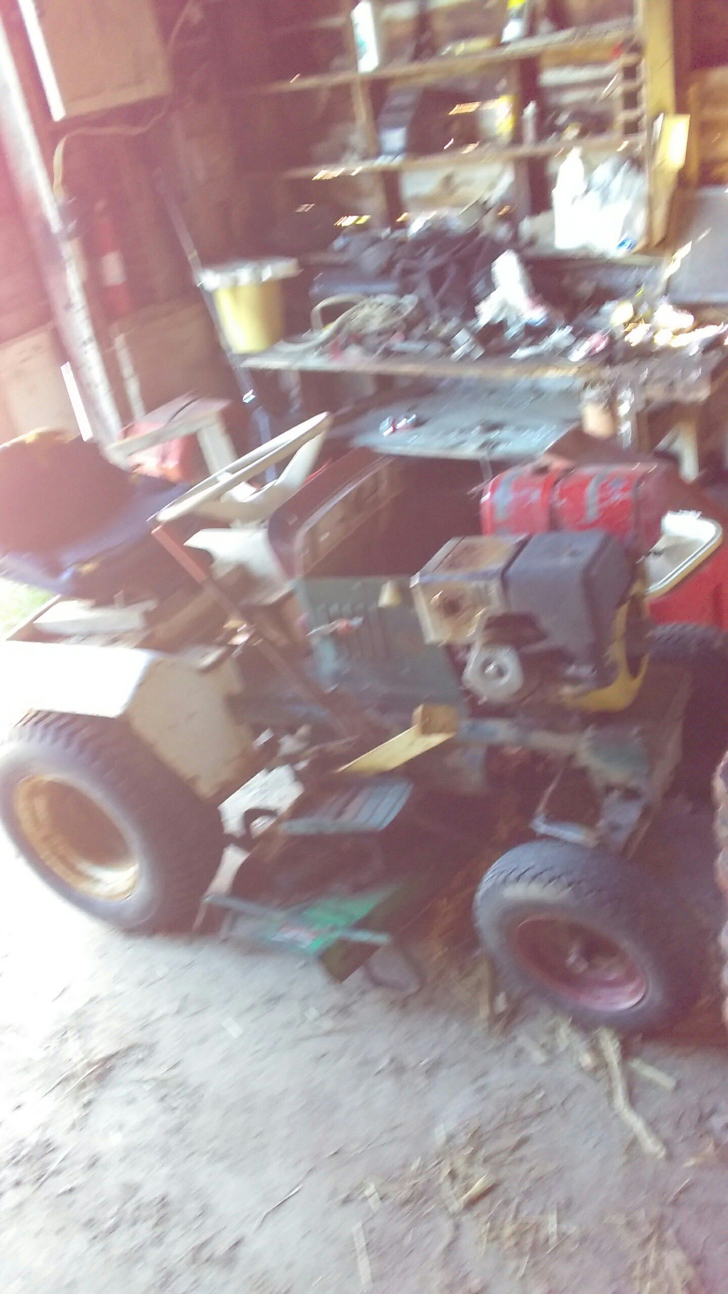 Photo Garden tractor with tiller runs just needs gasket for the gas switch asking $250.or trade for running atv