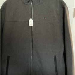 Men's Tommy Hilfiger Brand Zippered Jacket Size Largr Dark Gray. Thumbnail