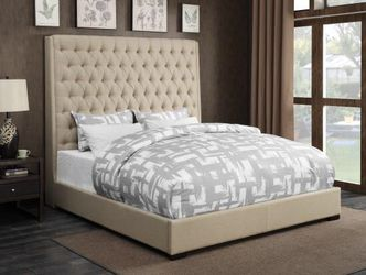 """New Natalie Linen Upholstered Bed 72""""High! Also in Gray Thumbnail"""