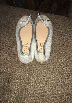 Silver sparkly little girl flats Thumbnail