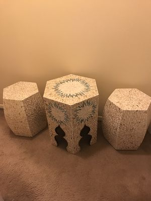 """Set of 3 handcrafted mosaic living room tables 20"""" coffee table and 2 end table 17"""" message me if you interested for Sale in Gaithersburg, MD"""