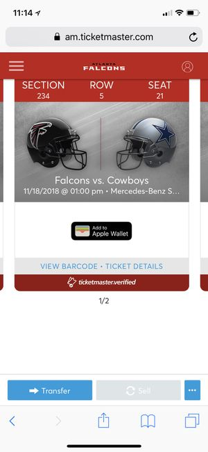 Falcons Vs Cowboys Tickets for Sale in Cumming, GA