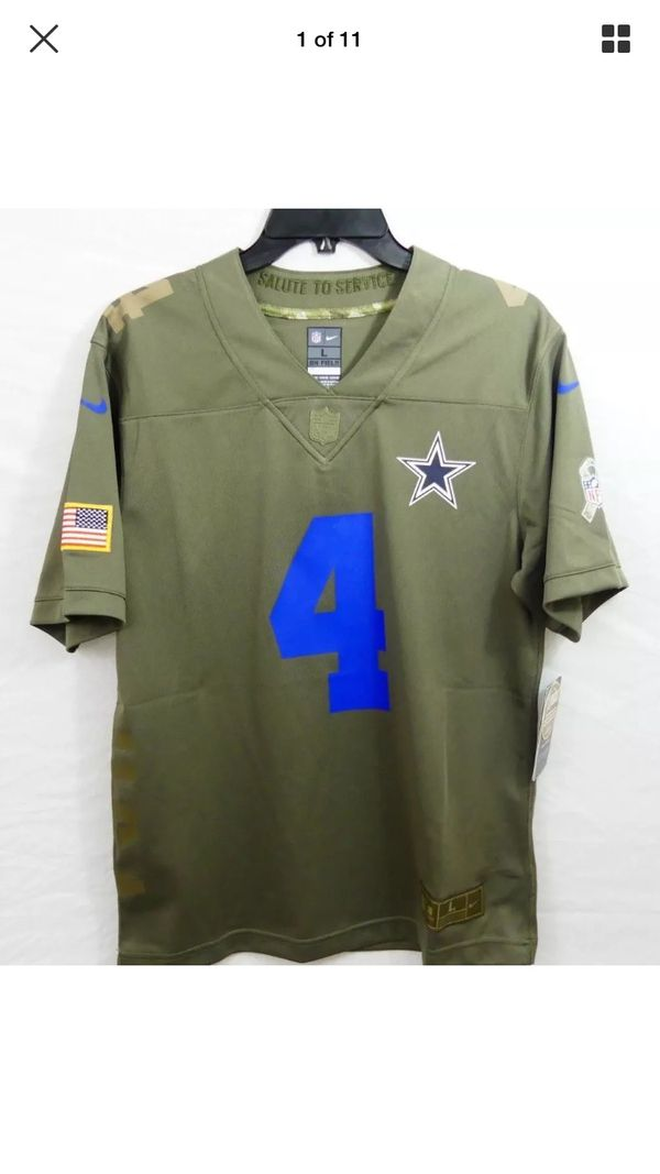 Nike Youth Dallas Cowboys Dak Prescott NFL Salute To Service Jersey Size  Youth Boys Large Olive Green Blue Camo Red White Blue Brand New With Tags  Re for ... a5f1f3e27
