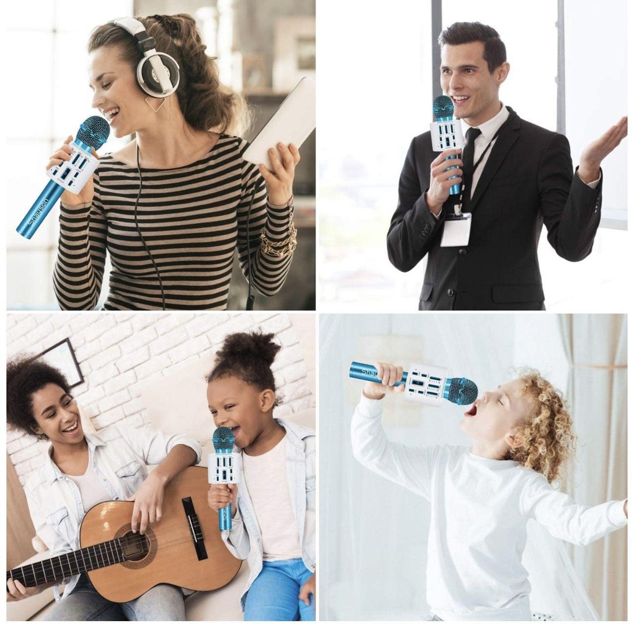 Wireless Karaoke Microphone, Bluetooth Microphone with LED Lights, 3 in 1 Portable Handheld Speaker Machine for Kids & Adults, Karaoke Microphone for