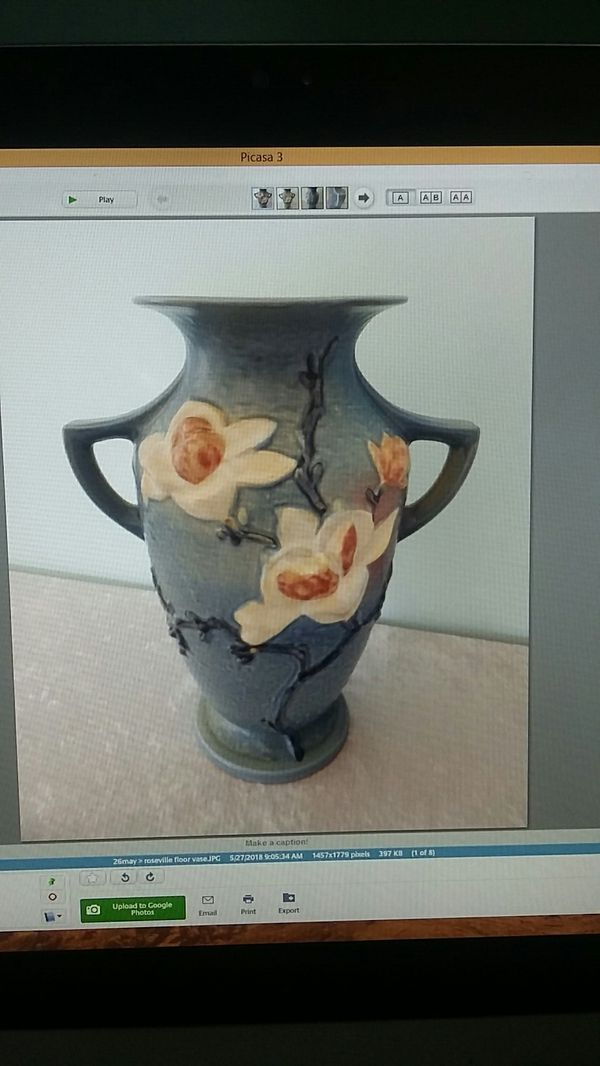 Vintage Roseville Magnolia Art Pottery Tall Floor Vase Antiques In