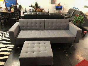 Photo Gray Fabric Sofa Bed with Ottoman