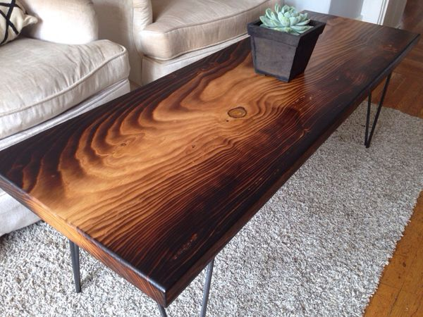 Torched Deodar Cedar Slab Coffee Table For Sale In Oakland