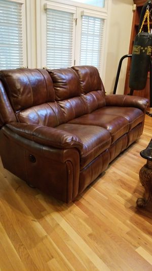 Italian Napa Leather double side power recliner sofa for Sale in Chesterfield, VA
