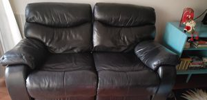 Black leather 2 seat recliner for Sale in Reston, VA